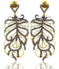 14k Gold Pave 3.93ct Diamond FEATHER Dangle Earrings 925 Silver Designer Jewelry