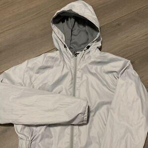 New Balance Windbreaker Jacket Womens Large Gray Hooded Running Activewear Coat