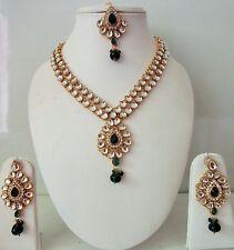 Indian Bollywood Ethnic Bridal Designer Green Kundan Pearls Fashion Jewelry Sets