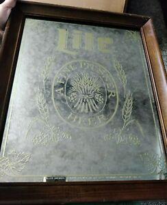 """Vintage 1979 Miller Lite Pilsner Beer Wood Framed Bar Mirror Sign Gold 18""""x15"""""""
