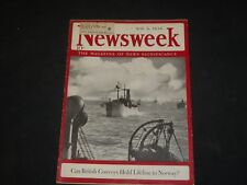 1940 MAY 6 NEWSWEEK MAGAZINE-CAN BRITISH CONVOYS HOLD LIFELINE TO NORWAY- NW 686
