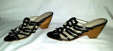 Cute Black ATTENTION Hedy2 Sz 6M Slip on Wedge Heel Slides Sandal Shoes