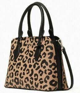 Kate Spade Darcy Leopard Leather Satchel WKR00536 Cheetah Leopardo $359 MSRP FS