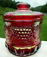 """Vintage Fenton Ruby Red Carnival Glass Grape & Cable Tobacco Jar 7.25""""H x 6.5""""W"""