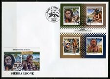 SIERRA  LEONE 2018  PREHISTORIC HUMANS  SHEET FIRST DAY COVER