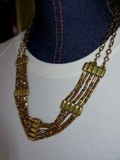 Eddie Bauer Multi Strand Gold Bead Metal Nugget Statement Necklace New