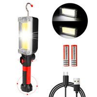 Magnetic LED COB Inspection Lamp Flashlight Light USB Rechargeable Torch+Hook US