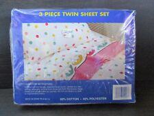 "Vtg Woolworth""Kids Dreams"" 3pc Twin Sheet Set~Sleeping Kitty Cats~Polka Dots"