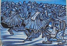 8060204 Öl-Gemälde signiert Iddriss 2013 Ghana Männer beim Tanz gerollt