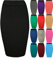 New Womens Plain Elastic Waist Bodycon Stretch Ladies Pencil Midi Skirt 8 - 14