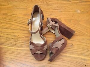 MICHAEL KORS OPEN TOE STRAPPY SUEDE BROWN  BEIGE HEELED SHOES NWOB SIZE 8