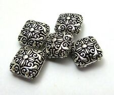 5 PCS 14X9MM SOLID COPPER NEPALESE BEAD OXIDIZED STERLING SILVER PLATED B 723