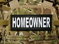 3x8 Homeowner Black White Tactical Hook Chest Rig Plate Carrier Morale Patch