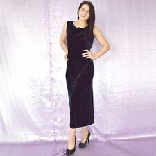Stretchig Blue Velvet Evening Dress M Maxi Sheath Cocktail Prom