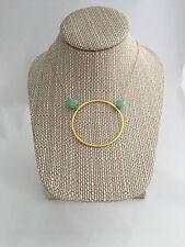 """Open Circle. Gold 2"""" Circle. Chrysoprase. Karma. Gold Halo. Handmade necklace"""