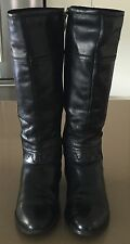 Pre-owned Stylish JO MERCER Black Leather Long Knee High Boots Size 40