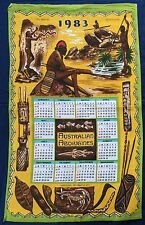 1983 Calendar Vintage Retro Souvenir Unused COTTON Tea Towel - Aboriginal Life