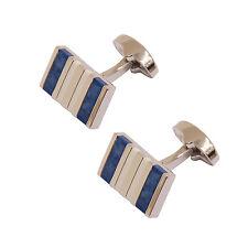 Sophos - Pulido Plata Con Azul Semi Preciosa Piedras Gemelos en Caja Regalo