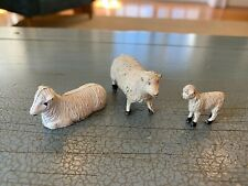 Putz Sheep Family England Painted Metal Antique Nativity Vintage Rare