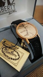 Vintage 1980's Black Leather Dufonte Liberty Centennial Watch by Lucien Piccard.