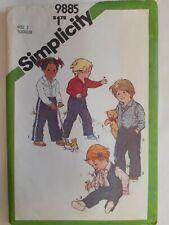Shirt Pants Vest Simplicity Sewing Pattern 9885 Girls Boys 2 Toddlers VTG Cut