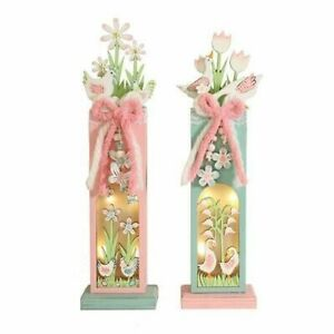 Spring Blossoms LED Lighted Wooden Easter Tabletop Decoration Set of 2