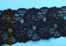 "Double Scalloped Lace Trim 5-1/2"" Black  3 yds #N45"