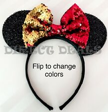 Minnie Mouse Ears Headband Red Gold Color Changing Flip Sequin Reversible Bow