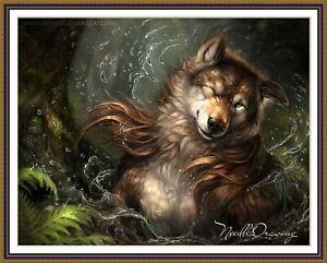 Furry Wolf  - Chart Counted Cross Stitch Pattern Needlework craft
