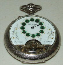Antique Hebdomas Swiss Made 8 Day Visible Balance Pocket Watch - 8 Jours 8 Tage
