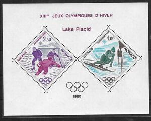 SMT, MONACO, 1980 Lake Placid olympic block, MNH, CV € 350
