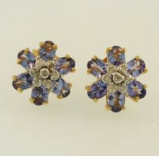 9Ct Yellow Gold Tanzanite & Diamond Floral Cluster Stud Earrings (11mm)