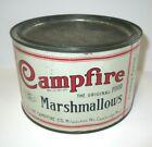 RARE 1920's-30's Canco Vintage Campfire Marshmallow Brand 12oz Food Tin