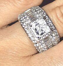 14k SOLID REAL GOLD Ring 3 ct princess White manmad Diamond Engagement 7 6 8