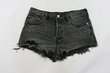 Levis 501 Womens 28 Destroyed Distressed Button Fly High Waisted Shorts Black