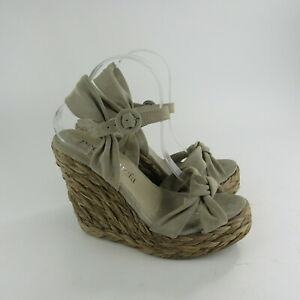 Pedro Garcia Womens Natural Sandals Size 42 Wedge Woven Heels Soft Leather $335