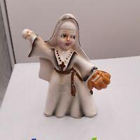 Vintage Catholic Nun PLAYING BASEBALL  Porcelain Figurine NAPCOWARE JAPAN