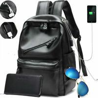 New Fashion Mens PU Leather School Backpack Waterproof Laptop Travel Bag