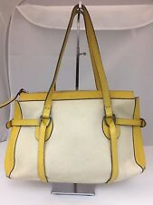 HOGAN 78417 IVORY CANVAS YELLOW LEATHER  TOTE SHOULDER BAG