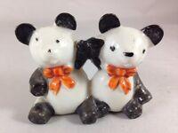 Vintage Twin Panda Bears bowties Ceramic Figurine Made in Japan Panda Figure