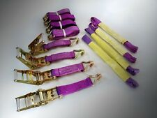 PROFESSIONAL RATCHET RECOVERY STRAPS TRAILER TIE DOWN ALLOY WHEEL STRAPS SET