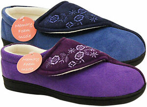LADIES FASTENING FLEECE SLIPPERS FAUX SUEDE HOME SHOES COMFY UK SIZE 3-8