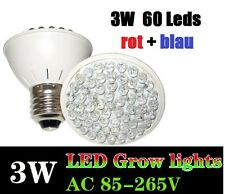 3 Watt 60 LED Grow Plant Light Pflanzen Lampe E27 Full Spectrum Growlight Blüte