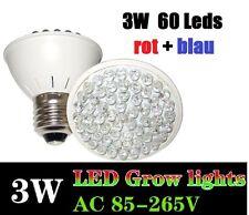 3 Watt 60 LED Grow Plant Light Pflanzen Lampe E27 Full Spectrum Growlight Blüte