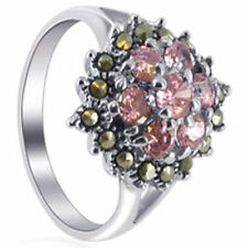 925 Sterling Silver Pink ice CZ Cubic Zirconia Marcasite Flower Ring Size 5 - 8