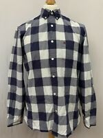 Mens | Burberry Brit Checked Long Sleeve Button Shirt | Navy & White | Size XL