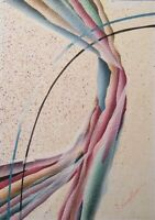 """Vintage Painting Abstract Mixed Media Art Signed J. Kendall 5"""" x 7"""""""