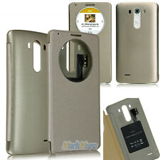 Gold Quick Circle Flip Cover Case w/ NFC + QI Wireless Charging for LG G3 D850
