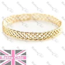 BOHO bracelet GOLD FASHION cuff BANGLE open cutout PLAITED retro woven plait