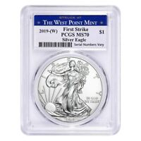 2019 (W) 1 oz Silver American Eagle $1 Coin PCGS MS 70 First Strike (West Point)